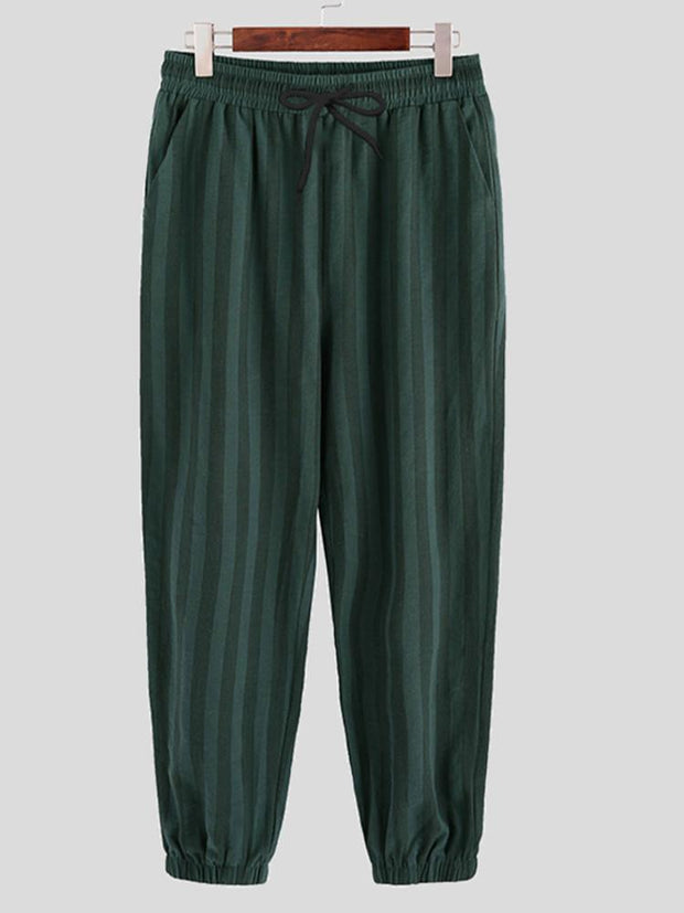 Mens 100% Cotton Casual Comfortable Plain Striped Drawstring Trousers