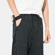 Mens Casual Comfortable Chinese Style Plain Striped Drawstring Harem Pants