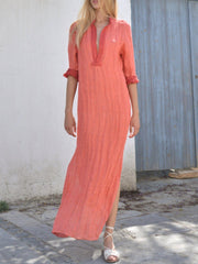 Women's Simple Stand-up Neck Slit Casual Maxi Dress