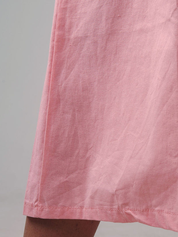 Women's Pink Casual Solid Summer Dress