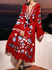 Women Plus Size Red Daily Casual Bell Sleeve Printed Floral Maxi Dress