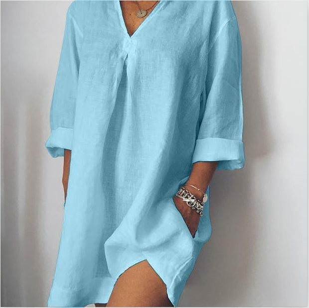 Women's Plus Size Casual Solid V Neck Long Sleeve Pockets Dresses