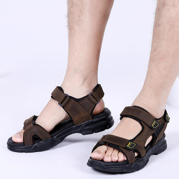 Men's Full Grain Leather Large Size Casual Anti Slip Sandalsia