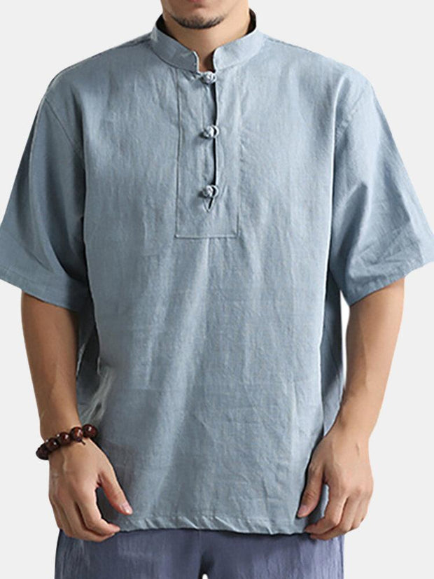 Mens Summer Vintage Chinese Style Stand Collar Solid Color Loose Casual Buttons T Shirts