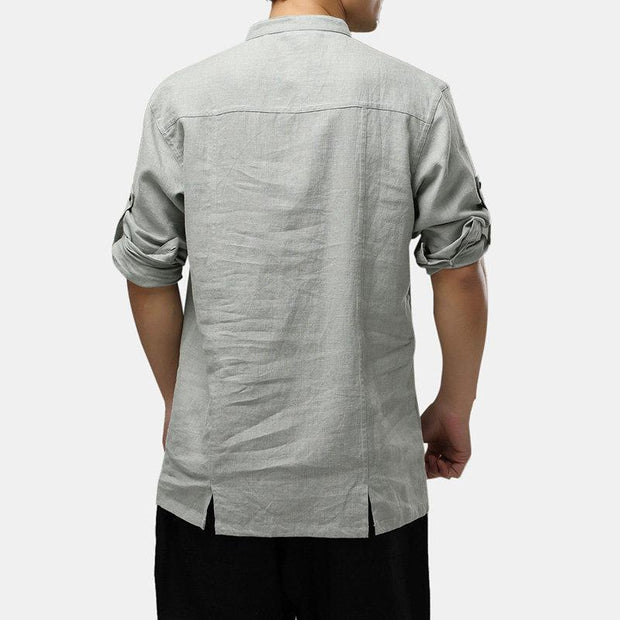 Mens 100% Cotton National Style Three-quarter Sleeve Plain Loose Henley Shirts