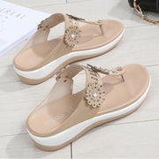 Women's clip toe sandals slippers Waichuan flowers diamond thick  spring sandals