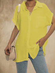 Women Solid Shift Short Sleeve Pocket Cotton-Blend Blouses&Shirts