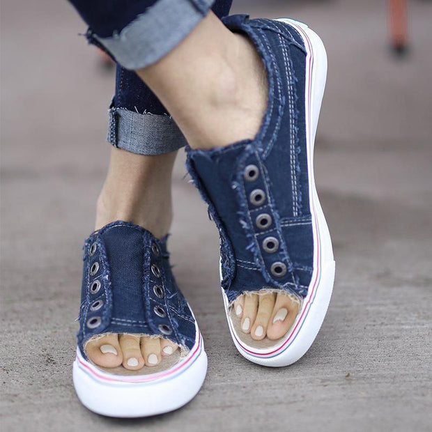 Women's Sports Distressed  Canvas Summer Rivet Sneakers