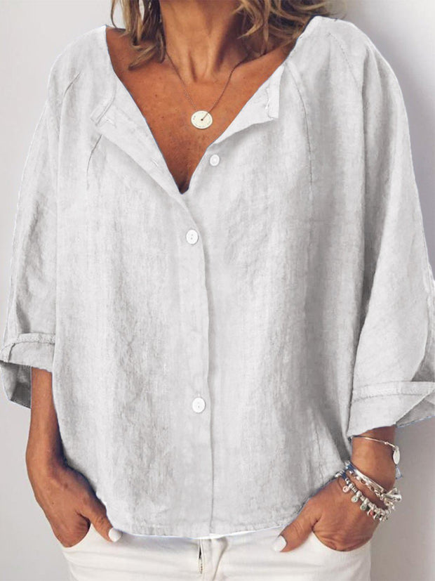 Women Long Sleeve Casual Solid Linen Tops