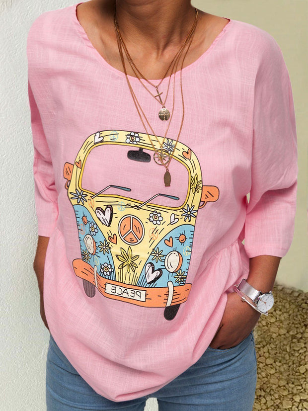 Women Round Neck Half Sleeve Cotton Printed Car T-shirts& Tees