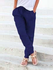 Women's Solid Shift Bottoms Casual Linen Pants