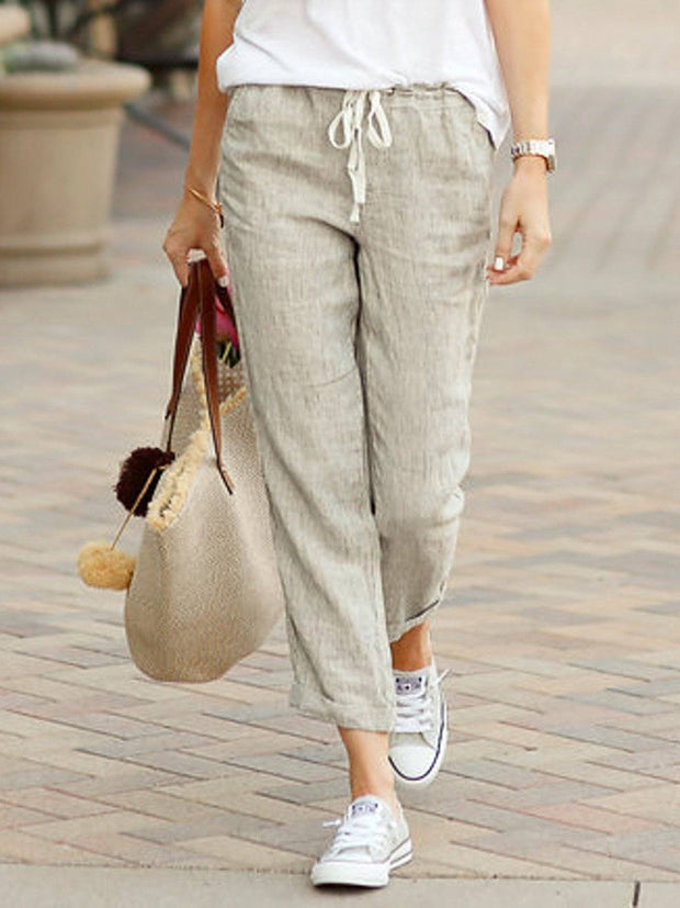 Women Linen Plus Size Summer Capri Pants Pockets Drawstring Casual Pants