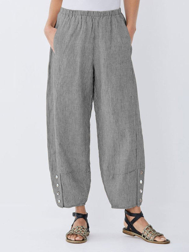 Women's Striped Linen Bottoms