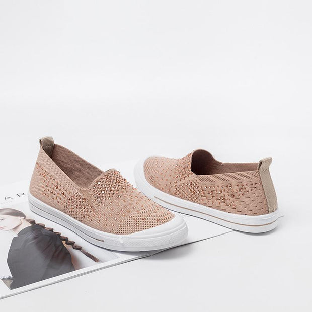 Women's breathable set foot lazy breathable large size flyknit weave shoes