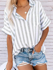Women's Buttoned Down Work Daily Striped Shirts