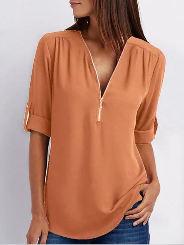 Women's Chiffon Half Sleeve Zipper Solid V neck High Low Plus Size Blouse