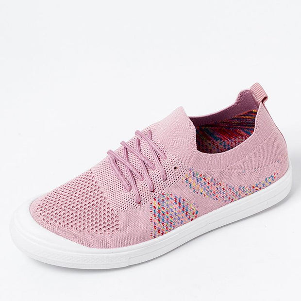 Women's Mesh Breathable Slip On Walking Casual Flyknit Flat Shoes