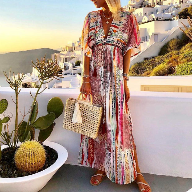Women's V-Neck Colorful Print Maxi Dress
