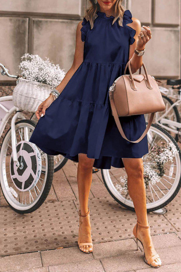 Women's Temperament Round Neck Sleeveless Fitted Vacation Dress