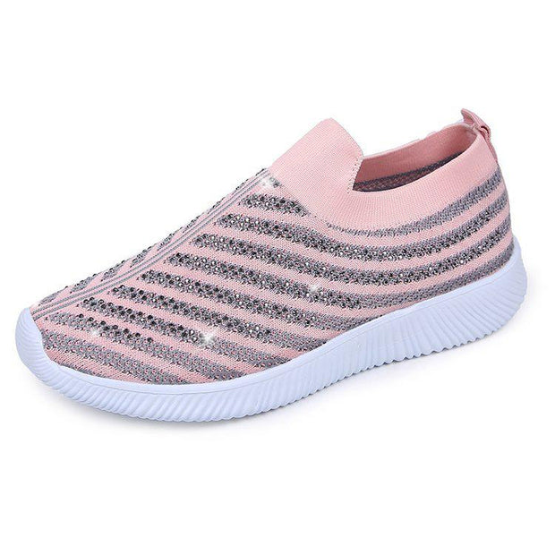 Women's Plus Size Vulcanized Sock Sneakers Slip On Flat Shoes