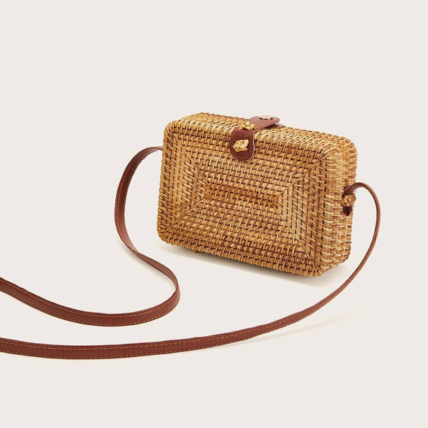 Women's Straw Detail Box Bag