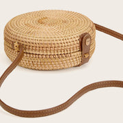 Women's Straw Detail Round Crossbody Bag