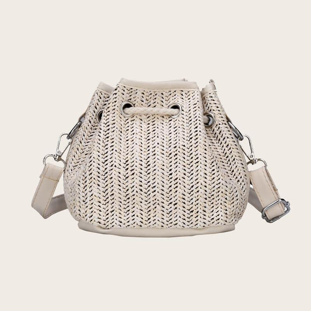 Women's Letter Embroidered Bucket Bag With Drawstring