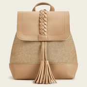 Women's Woven Tassel Decor Flap Backpack
