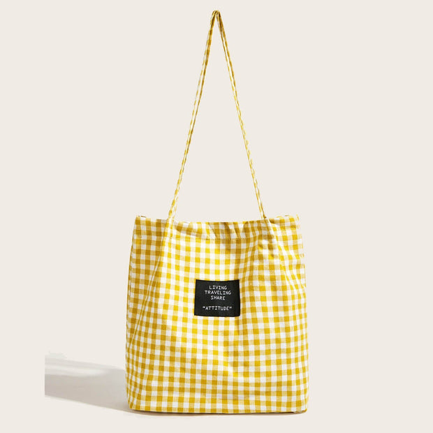 Women's Letter Detail Plaid Tote Bag