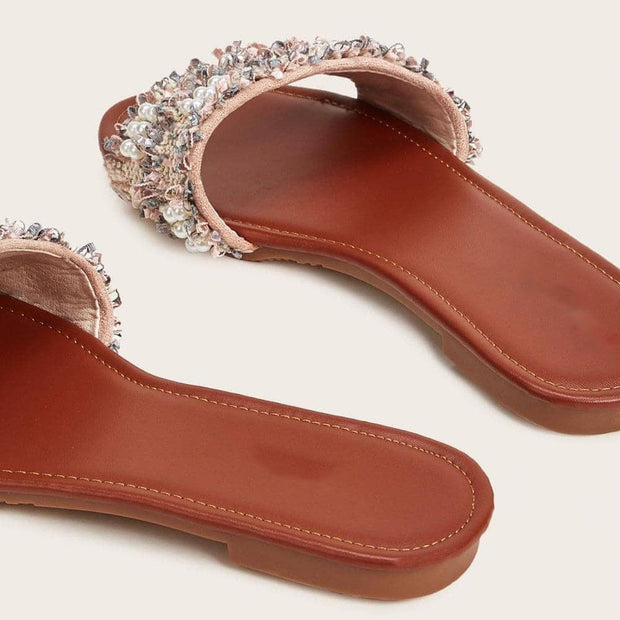Women's Faux Pearl Decor Tweed Flat Slippers