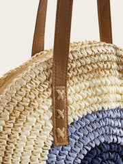 Women's  Braided tote bag with color blocks