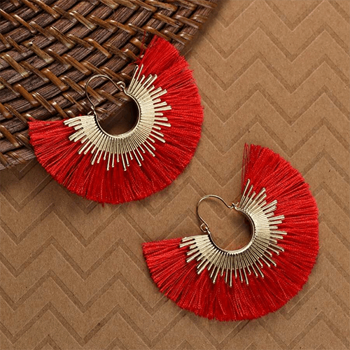 Women's  Gold Hoop Sunburst With Fringe Detail Earrings