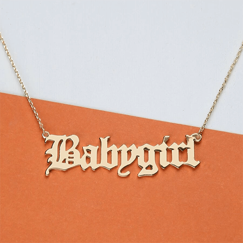 Women's Baby Girl Cursive Chain Necklace