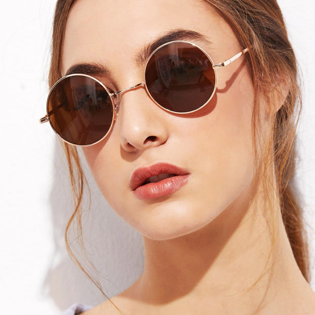 Women's Gold Frame Brown Round Lens Sunglasses