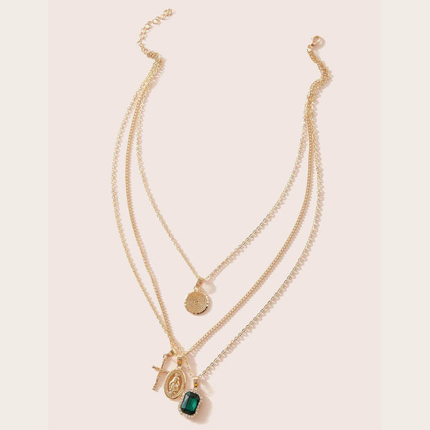 Women's  Cross & Gemstone Charm Layered Necklace