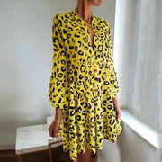 Women's Casual Leopard Print Bracelet Sleeve Pleated Splicing Dress