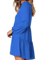 Women's Casual V-Neck Cap Sleeve Drape Solid Dark Blue A-Line Mini Dress