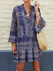 Women's Mysterious Dark Blue Snakeskin Casual Dress