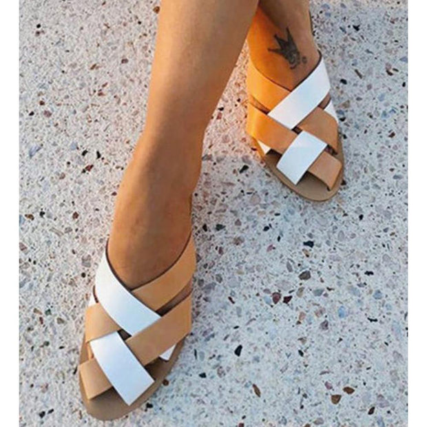 Women's Summer Color Block Flat Heel Slippers