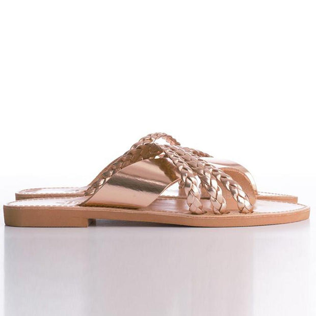 Women's Champagne Beach Solid Artificial Pu Slippers