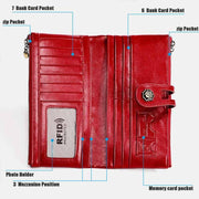 RFID Blocking Large Capacity Genuine Leather Vintage Wallet