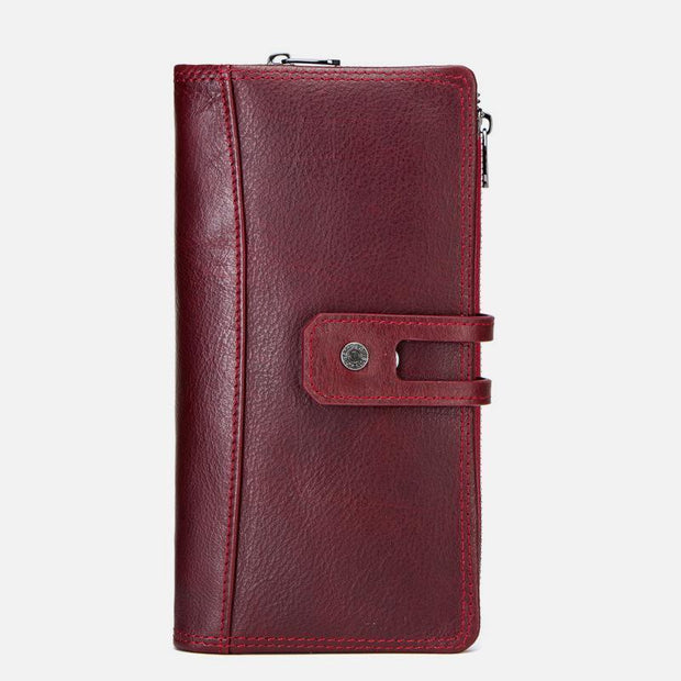 Genuine Leather Multifunctional Trifold Buckle Purse