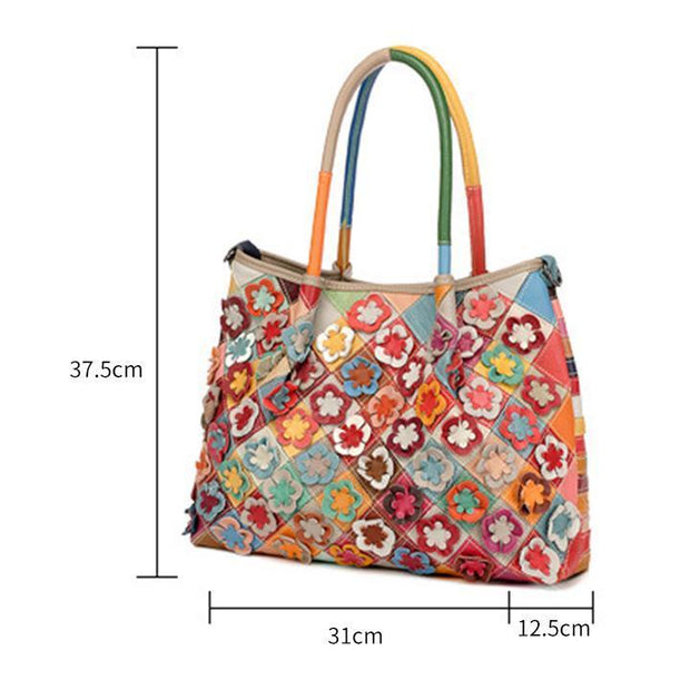 Genuine Leather Multicolor Flower Boho Handbag