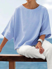 Women's Crew Neck 3/4 Sleeve Solid Shirts