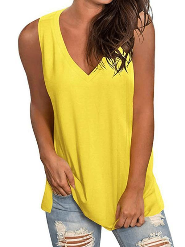Women's Solid Casual Sleeveless Cotton-Blend Shirts & Tops