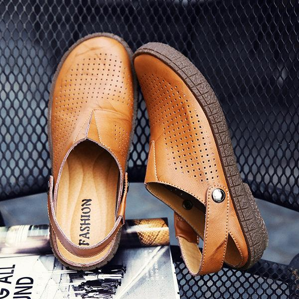 Men's Breathable Hollow Out Genuine Leather Beach Sandals
