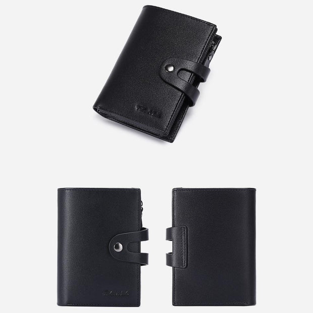 Men's Genuine Real Leather Vintage Short Bifold Zipper Coin Wallet