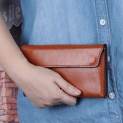 Women's Genuine Leather Large Ultra-thin Simple Multifunctional Clutch Card Wallet
