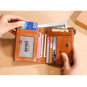 Men's Genuine Leather Multi-card Position Credit Retro Short Clutch  Wallet