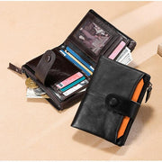 Men's Genuine Leather Multifunction Business Short Wallet